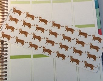 Bengal Cat Stickers! Cat Stickers! Perfect for your Erin Condren Life Planner, calendar, Paper Plum, Filofax!