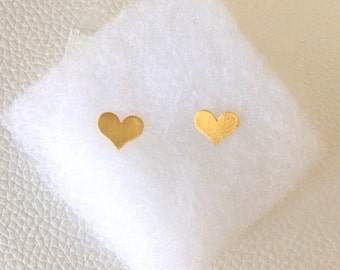24k Yellow Gold Plated Heart Studs