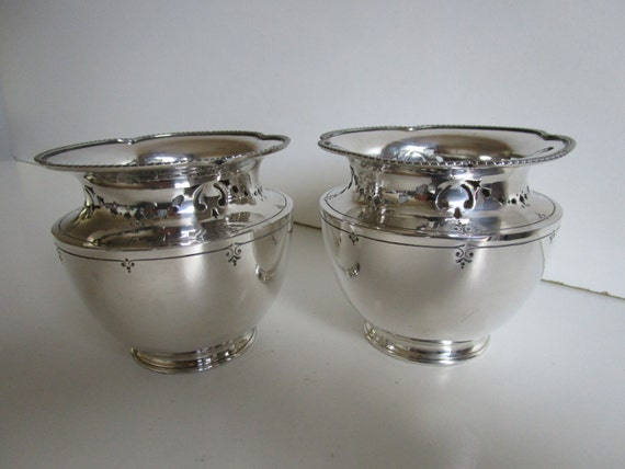 Silver Plated Plant Pots Fern Pair Sheffield By