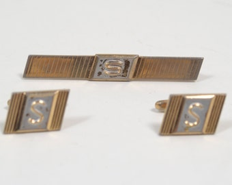 "Vintage Hickok USA Letter ""S"" Tie Bar with Cuff Links"