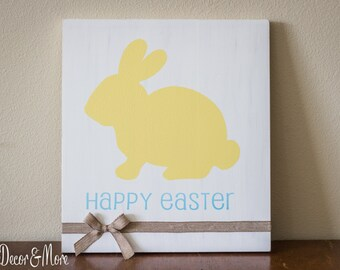 Happy Easter Wooden Sign/Bunny Sign/Easter Decor/Easter Bunny Wall Decor/Wooden Easter Sign