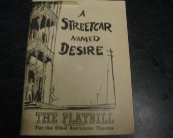 "The Playbill for The Ethel Barrymore Theatre "" A Streetcar Named Desire"" 1948 Broadway Musical"