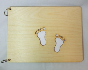 Wooden photo album Baby footsteps, present for grand parents