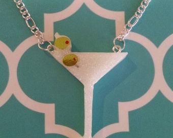 Martini glass pendant necklace