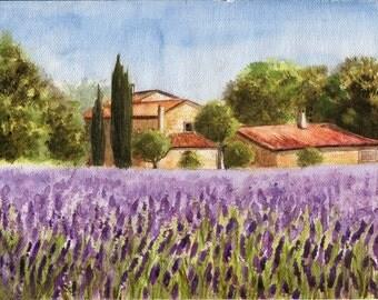 Lavender field - ORIGINAL WATERCOLOR PAINTING landscape