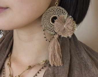 Circled crochet and pom-pom, tassel earrings