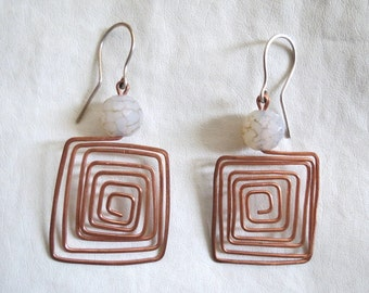 Handmade Hammered Copper Wire Square Spiral Earrings