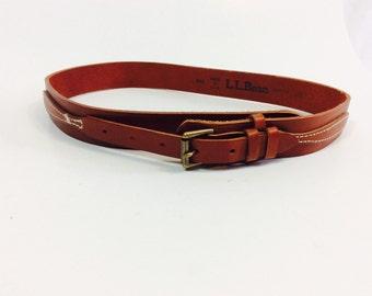 Western leather belt brown western belt western leather belt brown leather belt vintage ll bean belt western style SW belt vintage llbean