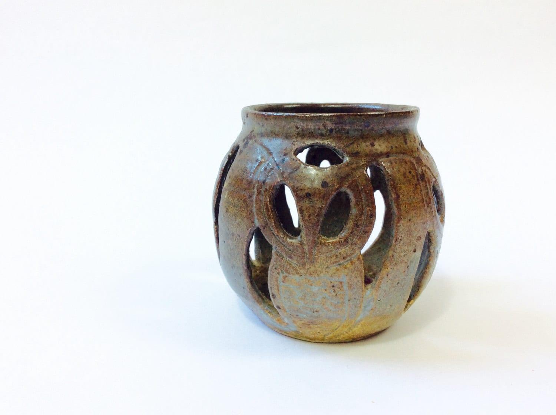 Vintage Owl Candle Holder Ceramic Owl Lantern Owl Tealight