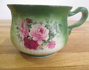 iron stone  staffordshire pottery planter , green plant pot holder ref 6
