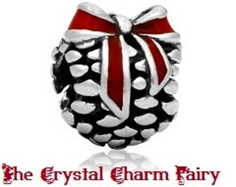 European Charm HOLIDAY CHRISTMAS PINE Cones with Bows Silver Bead Fits Large Hole / Pandora / European / Bracelets / Necklace