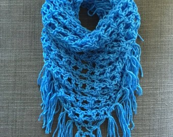 Sky Blue Triangle Fringe Scarf