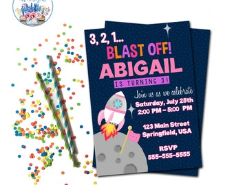 Outer Space Invitation, Outer Space Birthday Party, Rocket Ship Invitation