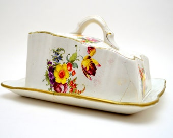 Antique Porcelain Cheese Keeper, Pretty But Sold AS IS, White with Floral Design and Gold Trim, Shabby Chic, circa early 1900s