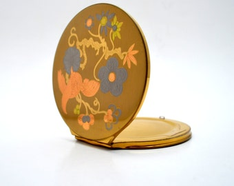 Vintage Wadsworth Compact, Oversized with Bird on a Branch, Mirrored Compact Powder Makeup Case, circa 1940s-1950s