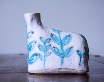 Flask Vase - White vase with fern illustration in cobalt, mint, teal and red