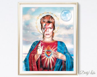 Bowie - Saint Starman Painting - Art Print - Illustration - Portrait - Starman