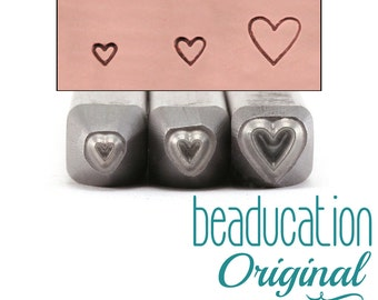 Heart Metal Design Stamp / Trio of Hearts Metal Stamps - Metal Stamping / Punch Tools for Metal Stamped DIY Jewelry Making Tools (DS524)