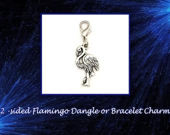 SALE! Very Cute 2-Sided Flamingo Dangle or Bracelet Charm.