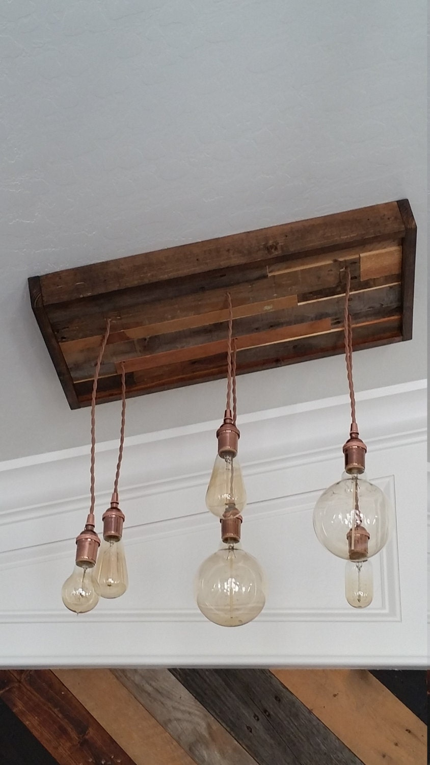 Reclaimed wood canopy and pendant light chandelier for Wood pendant chandelier