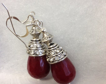 Red earrings gemstone earrings stone dangles Birthday gift Anniversary gift Valentine gift Mother's day gift Christmas gift  gift for women