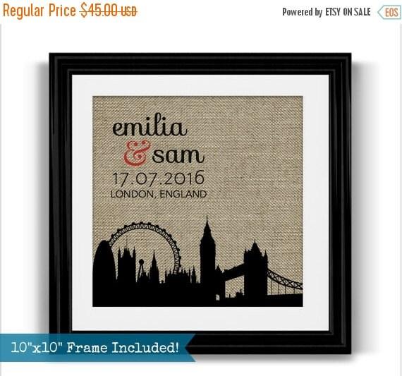 Wedding Gift Ideas London : London Skyline Wedding Gift London Wedding Personalized Gift ...