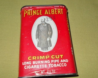 Vintage Prince Albert Tobacco Tin Empty with Special Knife Offer Old Timer Knives Ad & Paper Ad