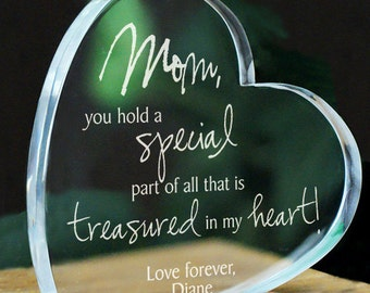 Engraved Treasured In My Heart Keepsake, Personalized Keepsake For Her