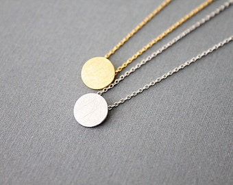 Simple Gold Brushed Dot Pendant Necklace. Simple Circle Necklace. Polka Necklace.