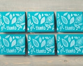 Thank you cards set, Block print, Thank you notes, Teal notecards, Torquoise thank yous, Printed by hand, Set of 6