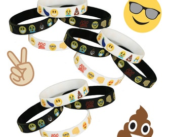 10 Count - Emoji Wristband Party Favor Bracelets - Supplies Decorations Invitations Goodie Goody loot bags Icons svg shirt valentine clipart