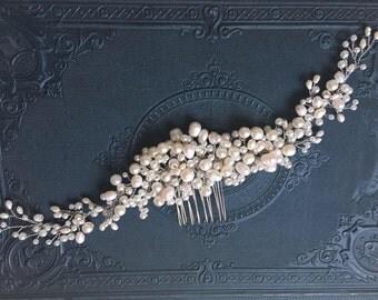 Freshwater pearl crystal bridal hair comb, Bridal Hair Comb, wedding hair comb, bridal accessories, bridal headpiece, bridal hair piece
