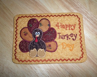 Thanksgiving Cute Handmade Quilted Turkey  Mug Rug, Mini Quilt Placemat, Snack mat, Table mat for that milk and cookie