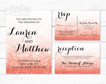 Printable Wedding Invitation, RSVP Card & Reception Card, Coral Wedding Invitation Suite, Chic Wedding Invites, Glitter Invitations Digital