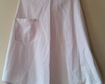 Vintage White and Purple Striped Single Pocket Apron