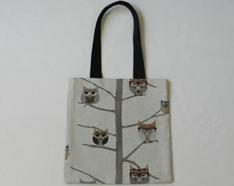Sleepy owls book bag - Shopping bag - Tote bag - Lined fabric bag - Library bag - Book tote - Owls