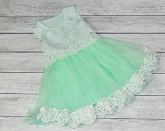 Bella - Mint Flower Girl Dress Tutu Dress party Dress Birthday Dress Girl Dress