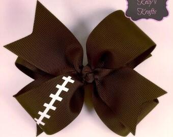 Football hair bow / double layer hair bow / boutique hair bow / fall hair bow
