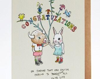 Funny wedding card, wedding card, funny engagement card, engagement card, handmade, hand drawn,  'Annoying Love'