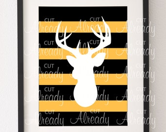 Deer- Gold and Black Stripe Printable - Instant Download