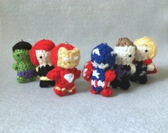 Amigurumi Avengers - Inspired (Iron Man, Captain America, Thor, Hulk, Black Widow, Hawkeye) Keychains: for ONE only