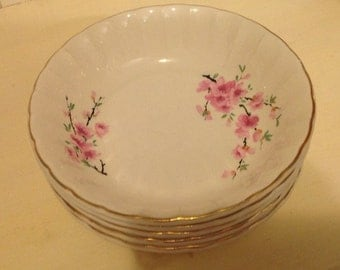 """Peach Blossom W.S. George.Five 7 3/4"""" Soup Bowls. Pink blossoms, country, cottage, shabby chic"""