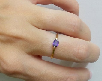 SALE! February Ring,Thin TIny Ring,Gold Ring,Prong Set, Purple Ring, Simple Ring,Amethyst Ring,Stacking Ring