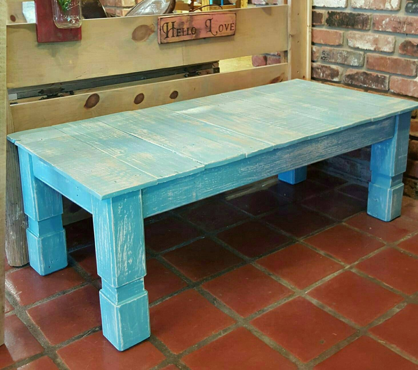 reclaimed wood turquoise farmhouse style coffee table with. Black Bedroom Furniture Sets. Home Design Ideas