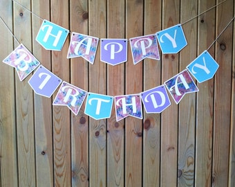 Tye Dye Happy Birthday Banner - party supplies - decorations