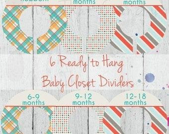 SALE - Baby Closet Dividers - Boy Nursery Closet Divider - Baby Shower Gift - Custom Closet Dividers - Baby Boy Closet Dividers