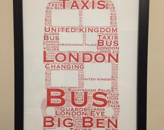 Red London Bus, Double Decker Bus, British Heritage Art, Transport Word Collage, Personalised Birthday Gift, New Home Gift, Office Decor