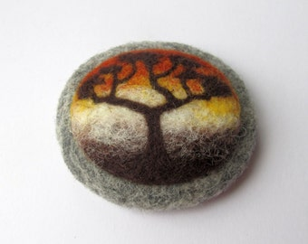 Needle felted brooch Wool felt brooch Tree of life Gift ideas for her Felted landscapes