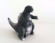 Rare 80s Godzilla Battery Operated Light Up 6 Inch Green Silver Vintage Japanese Toy ~ Decades Dance