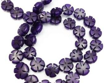 Buri flowers, purple, 12mm, 1 strand, 36 units, Buri beads